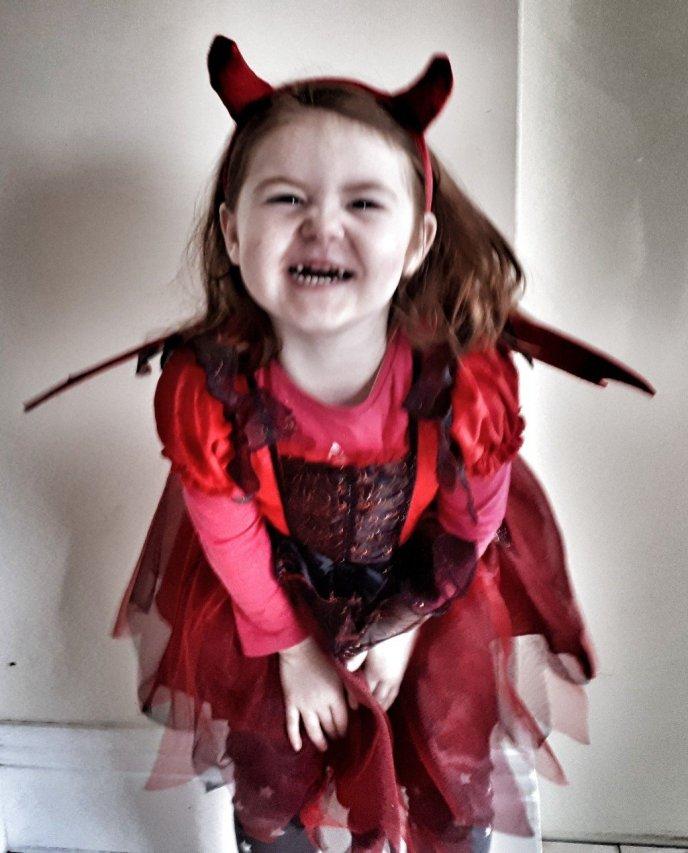 Little Miss OMG dressed as a Devil.